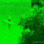 Colorized Rendering; Stand Up Paddler at Begonia Festival, Capitola Village California