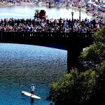 Colorized Rendering; Bridge on Crowd at Begonia Festival, Capitola Village California