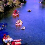 Colorized Rendering; Floats at Begonia Festival, Capitola Village California
